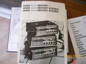 390. UHER, instruktionsbok (bandsp. finns i min samling). Typ: 4000 Report-L, 4200Report Stereo och 4400 Report Stereo. Nr: Germany RI/180/467/Nyköping 671138. Fotonr: 100_5763
