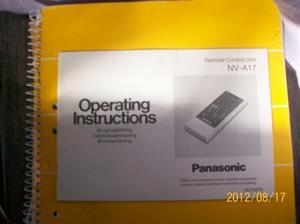 608. Panasonic, instruktionsbok. Sveriges Radio/Television. Typ: NV-A17. Nr: VQT 0976. Tillhör nr: 607. Fotonr: 100_9477.