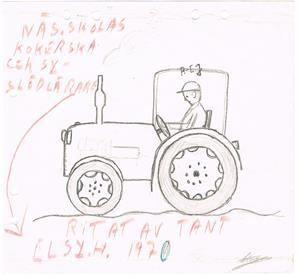 Traktor ritad av Tant Elsy i Näs skola 1970. Hon var både slöjdlärarinna och kokerska, skötte matlagningen i Näs skola.